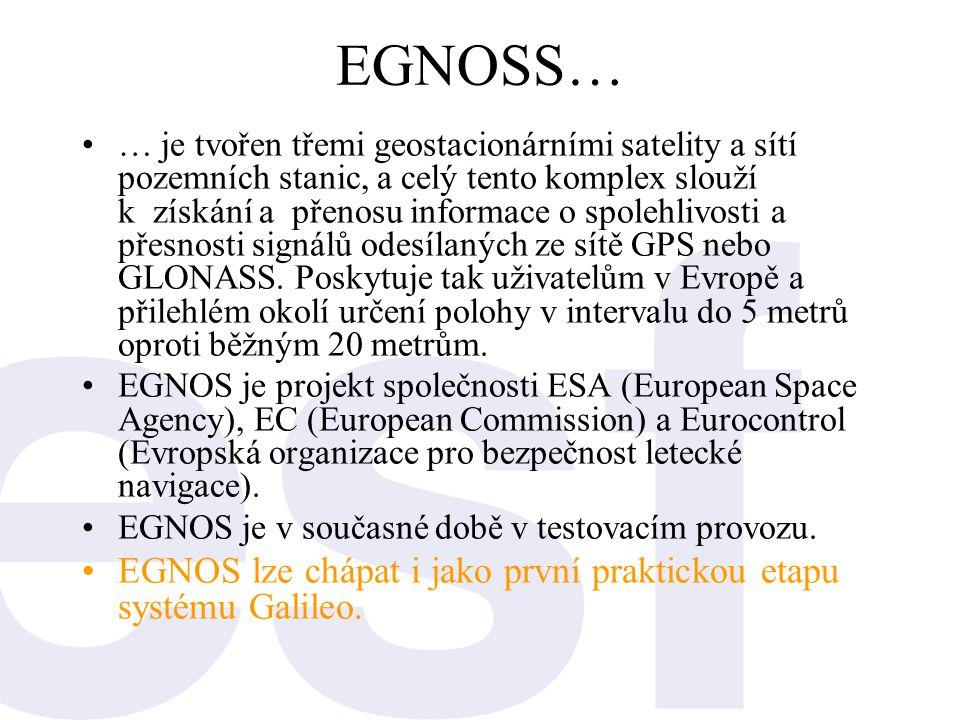 EGNOSS… •… je tvořen třemi geostacionárními satelity a sítí pozemních stanic, a celý tento komplex slouží k získání a přenosu informace o spolehlivost