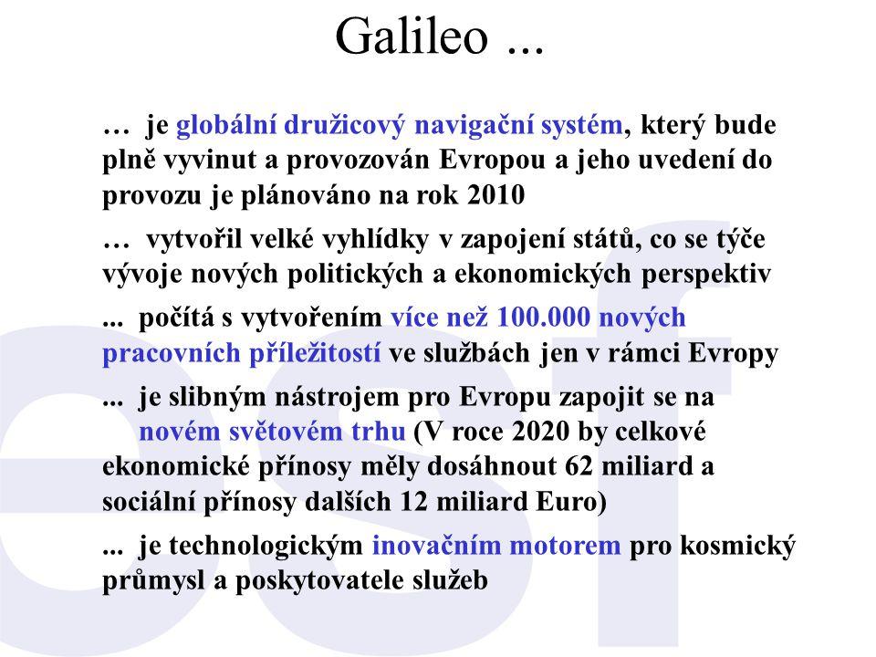 Galileo... … je globální družicový navigační systém, který bude plně vyvinut a provozován Evropou a jeho uvedení do provozu je plánováno na rok 2010 …