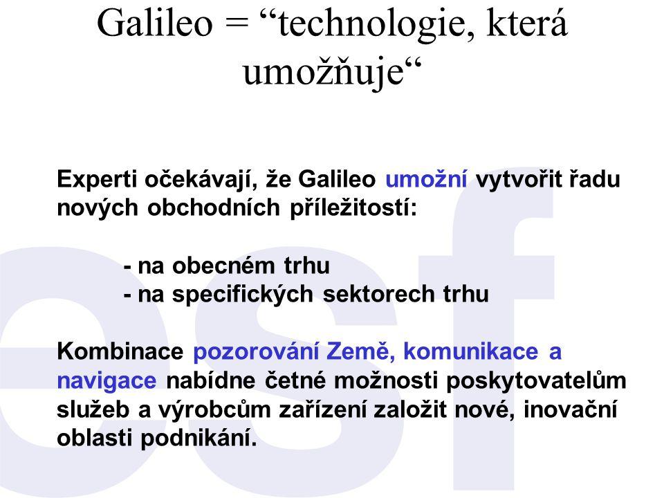 """Galileo = """"technologie, která umožňuje"""" Experti očekávají, že Galileo umožní vytvořit řadu nových obchodních příležitostí: - na obecném trhu - na spec"""