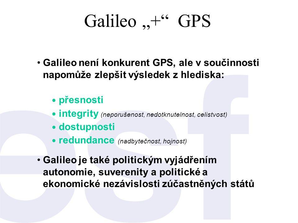 """Galileo """"+"""" GPS •Galileo není konkurent GPS, ale v součinnosti napomůže zlepšit výsledek z hlediska:  přesnosti  integrity (neporušenost, nedotknute"""