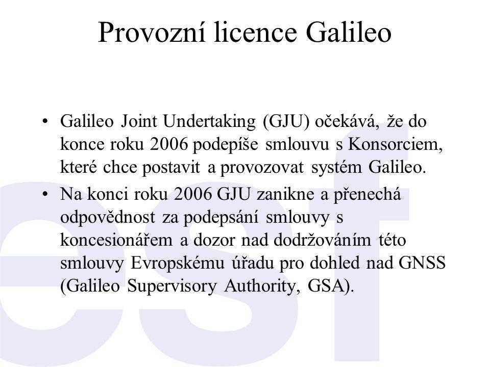 Provozní licence Galileo •Galileo Joint Undertaking (GJU) očekává, že do konce roku 2006 podepíše smlouvu s Konsorciem, které chce postavit a provozov