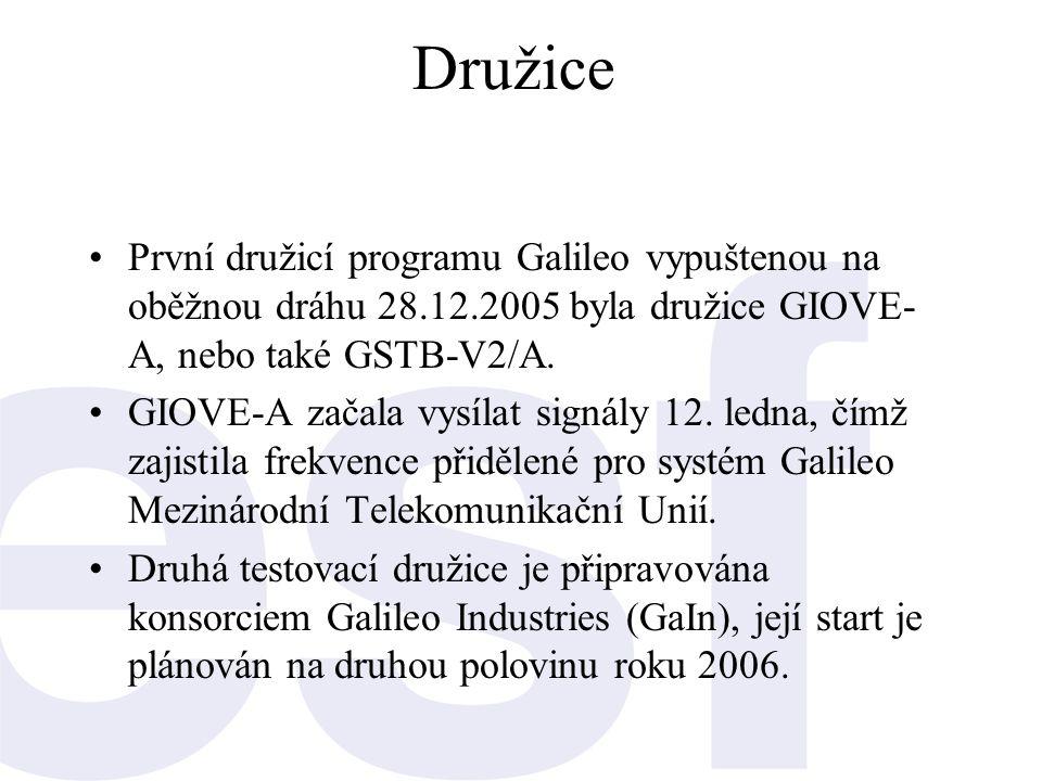 Družice •První družicí programu Galileo vypuštenou na oběžnou dráhu 28.12.2005 byla družice GIOVE- A, nebo také GSTB-V2/A. •GIOVE-A začala vysílat sig