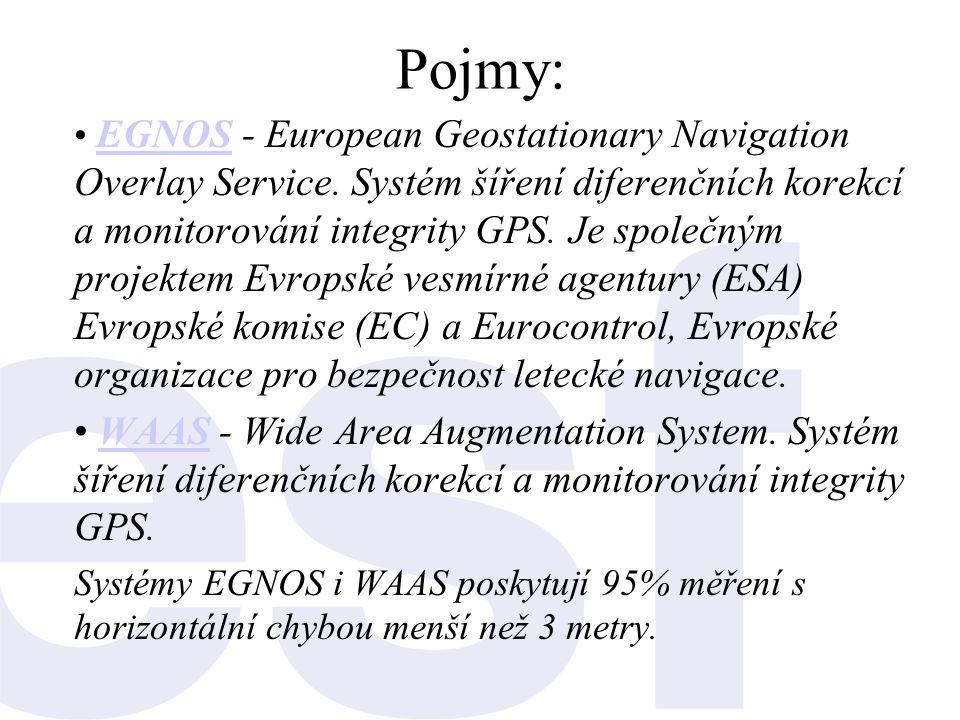 Pojmy: • EGNOS - European Geostationary Navigation Overlay Service. Systém šíření diferenčních korekcí a monitorování integrity GPS. Je společným proj