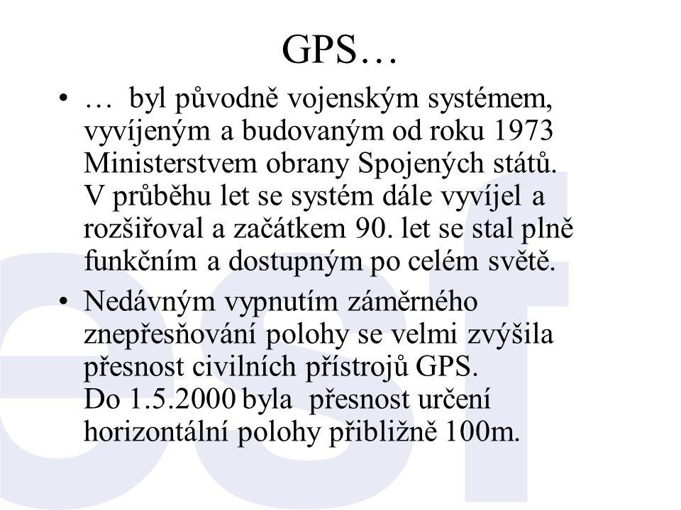 GPS… •… byl původně vojenským systémem, vyvíjeným a budovaným od roku 1973 Ministerstvem obrany Spojených států. V průběhu let se systém dále vyvíjel