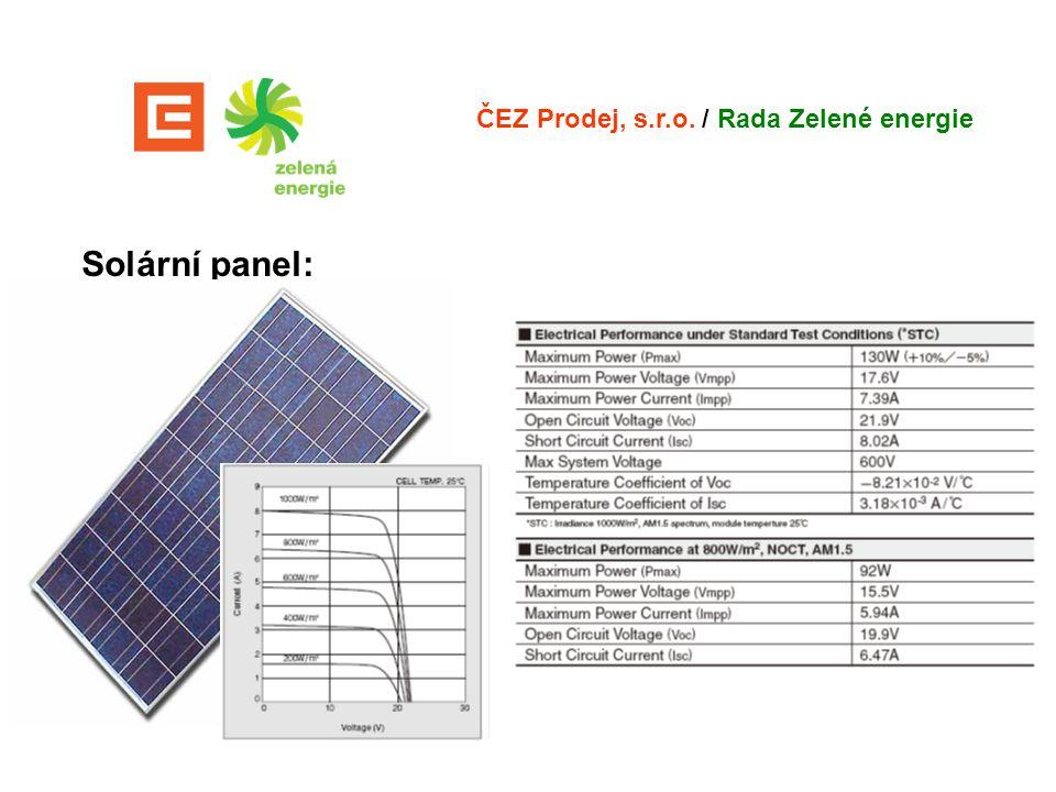 Solární panel: ČEZ Prodej, s.r.o. / Rada Zelené energie