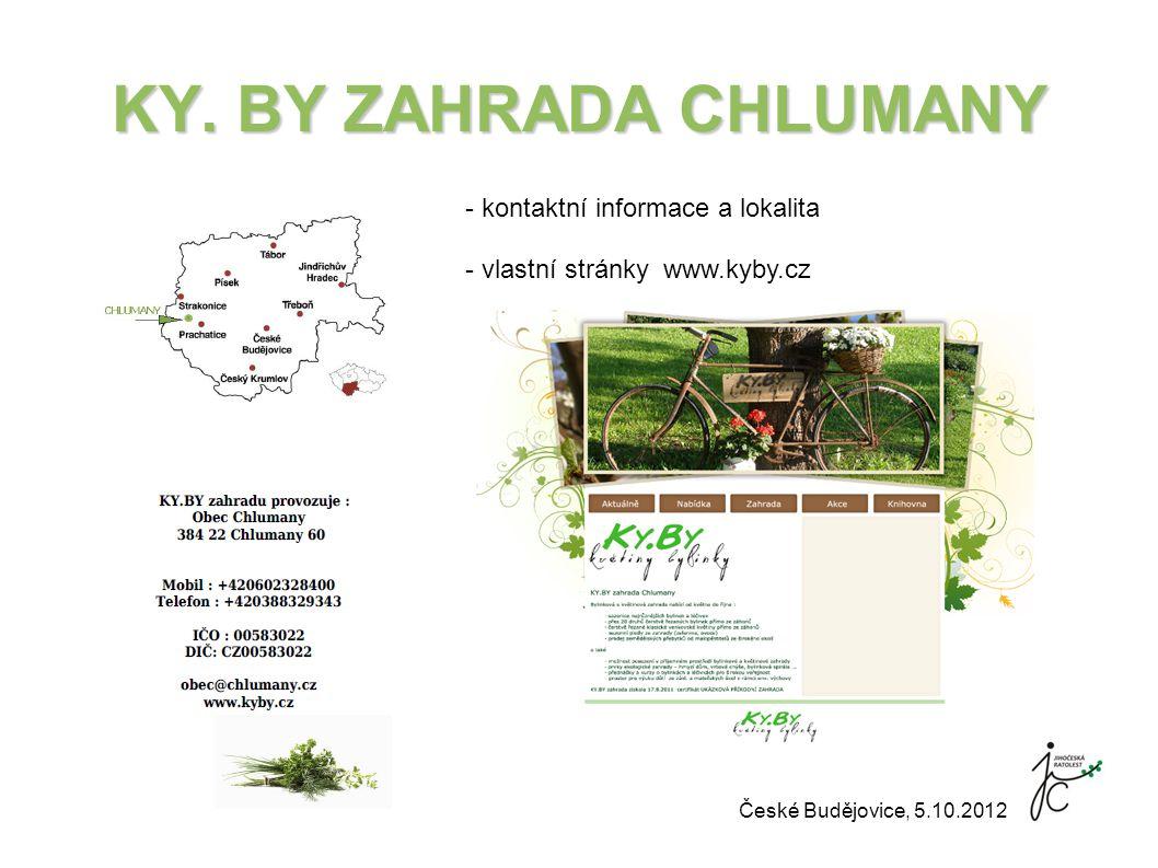 KY. BY ZAHRADA CHLUMANY - kontaktní informace a lokalita - vlastní stránky www.kyby.cz České Budějovice, 5.10.2012