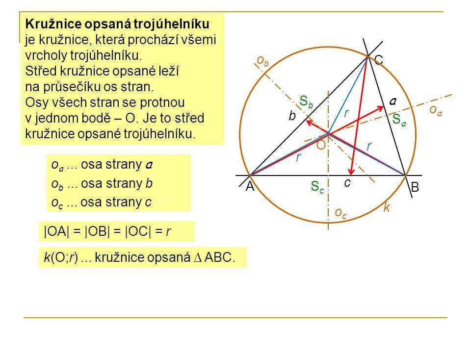 Kružnice opsaná trojúhelníku je kružnice, která prochází všemi vrcholy trojúhelníku. Střed kružnice opsané leží na průsečíku os stran. Osy všech stran