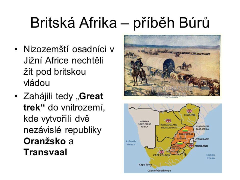 """Britská Afrika – příběh Búrů •Nizozemští osadníci v Jižní Africe nechtěli žít pod britskou vládou •Zahájili tedy """"Great trek"""" do vnitrozemí, kde vytvo"""