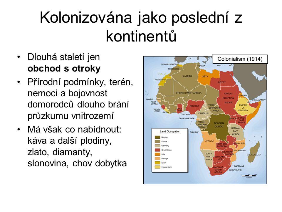 Cestovatelé zkoumají, kolonialisté dobývají •Po objevech velkých cestovatelů, probíhají závody o rozdělení Afriky •Nové léky a nové zbraně umožňují proniknout do nitra kontinentu •Provází je brutalita vůči domorodcům i vzájemné boje mezi kolonialisty