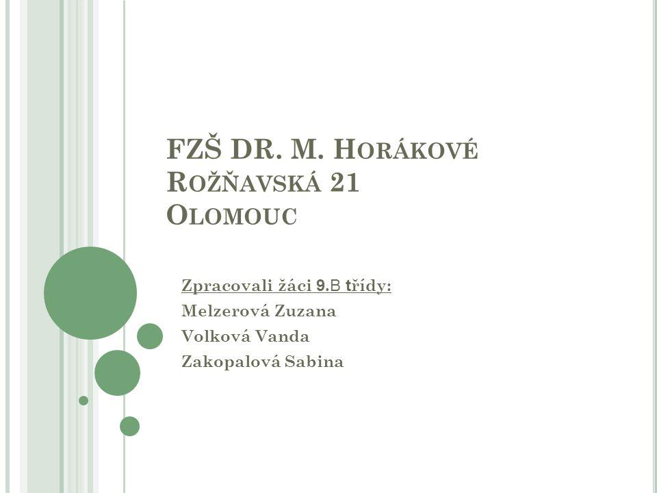 FZŠ DR. M. H ORÁKOVÉ R OŽŇAVSKÁ 21 O LOMOUC Zpracovali žáci 9. B t řídy: Melzerová Zuzana Volková Vanda Zakopalová Sabina