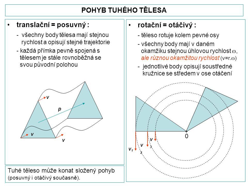 POHYB TUHÉHO TĚLESA •translační = posuvný : - všechny body tělesa mají stejnou rychlost a opisují stejné trajektorie - každá přímka pevně spojená s tělesem je stále rovnoběžná se svou původní polohou •rotační = otáčivý : - těleso rotuje kolem pevné osy - všechny body mají v daném okamžiku stejnou úhlovou rychlost , ale různou okamžitou rychlost (v=r.