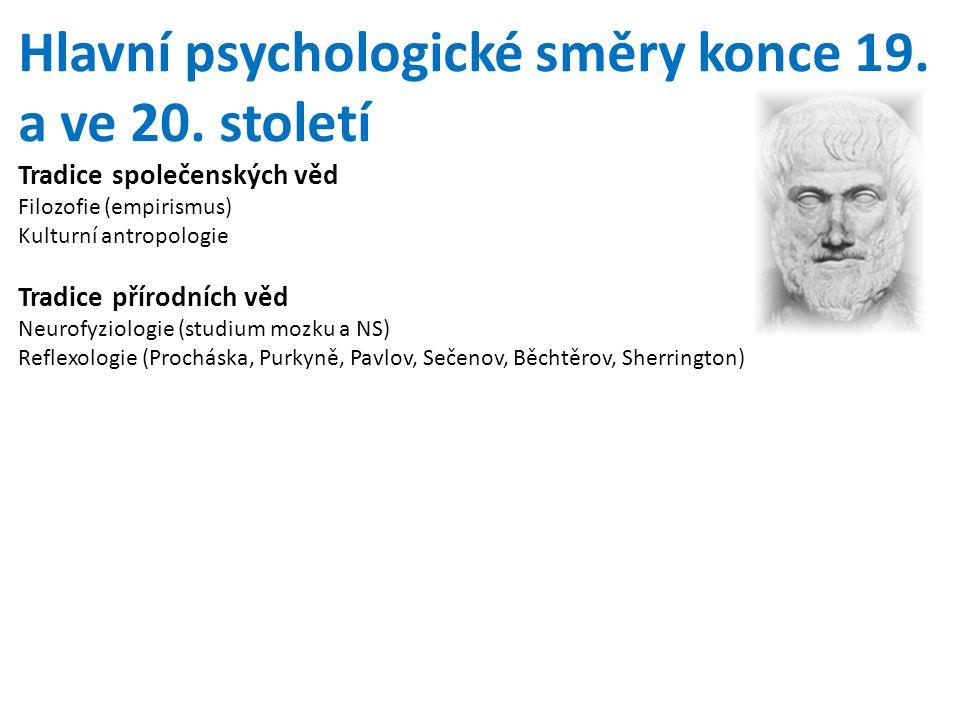 Hlavní psychologické směry konce 19. a ve 20. století Tradice společenských věd Filozofie (empirismus) Kulturní antropologie Tradice přírodních věd Ne