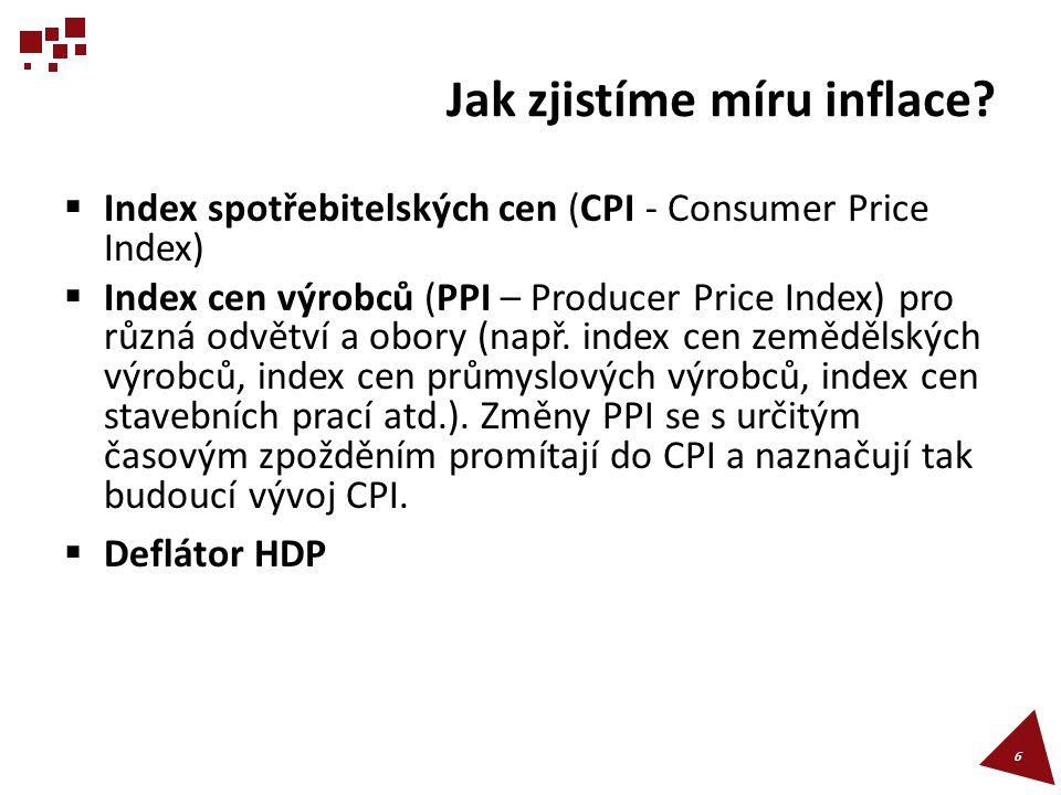 Index spotřebitelských cen (CPI - Consumer Price Index)  Index spotřebitelských cen se zjišťuje prostřednictvím spotřebního koše vybraného zboží a služeb na základě reprezentativního šetření mezi domácnostmi.