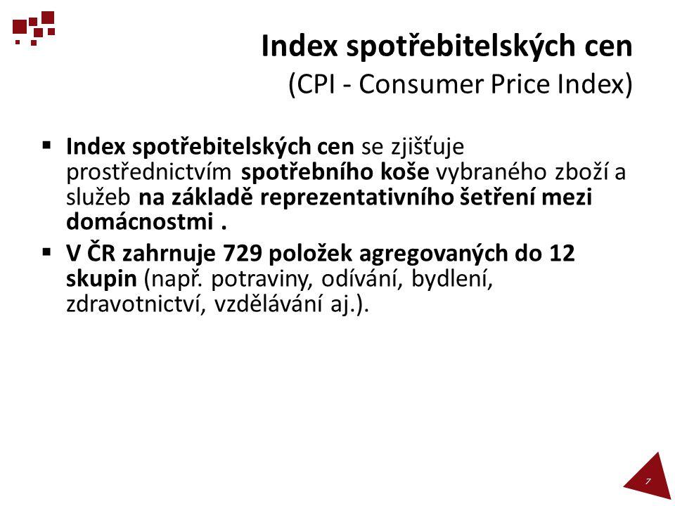 Inflace podle způsobu prosazování  Otevřená (Plně se projevuje v růstu cen.)  Skrytá (Při malé změně kvality a užitné hodnoty výrobku prudce roste cena vykazovaná jako cena nového výrobku, který není zahrnut v koši.)  Potlačená (Růst cen je administrativně bržděn, klesá kvalita výrobků, vzniká černý trh, vytvářejí se fronty, je zaveden přídělový systém.) 18
