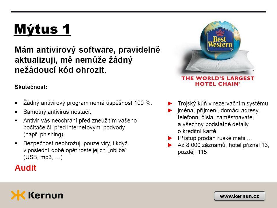 Mýtus 1 www.kernun.cz Mám antivirový software, pravidelně aktualizuji, mě nemůže žádný nežádoucí kód ohrozit.