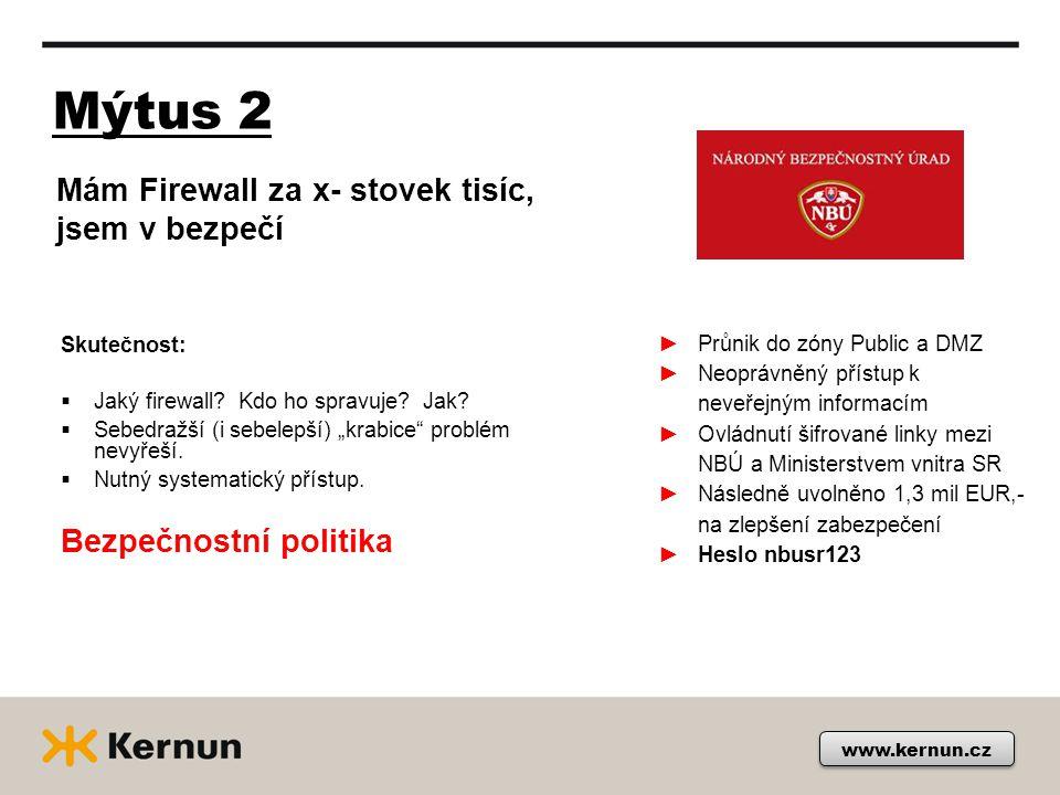 Mýtus 2 www.kernun.cz Skutečnost:  Jaký firewall.