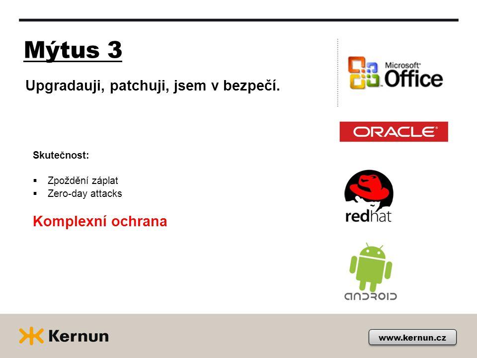 Mýtus 3 www.kernun.cz Skutečnost:  Zpoždění záplat  Zero-day attacks Komplexní ochrana Upgradauji, patchuji, jsem v bezpečí.