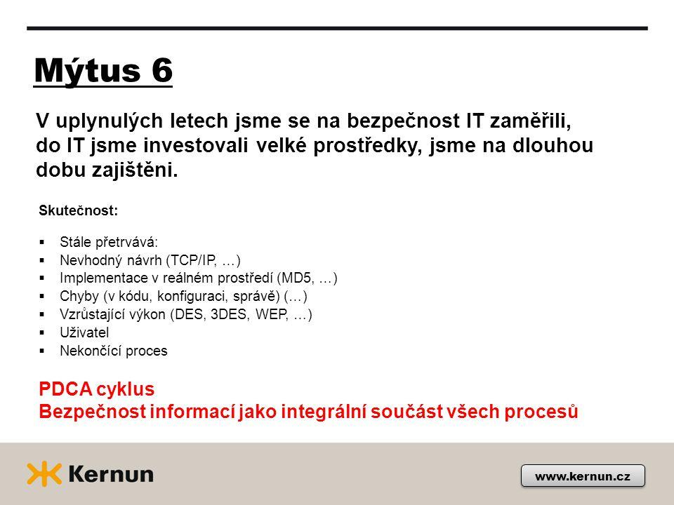 Mýtus 6 www.kernun.cz Skutečnost:  Stále přetrvává:  Nevhodný návrh (TCP/IP, …)  Implementace v reálném prostředí (MD5, …)  Chyby (v kódu, konfiguraci, správě) (…)  Vzrůstající výkon (DES, 3DES, WEP, …)  Uživatel  Nekončící proces PDCA cyklus Bezpečnost informací jako integrální součást všech procesů V uplynulých letech jsme se na bezpečnost IT zaměřili, do IT jsme investovali velké prostředky, jsme na dlouhou dobu zajištěni.