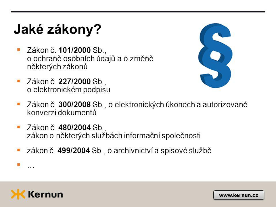 Jaké zákony. www.kernun.cz  Zákon č.