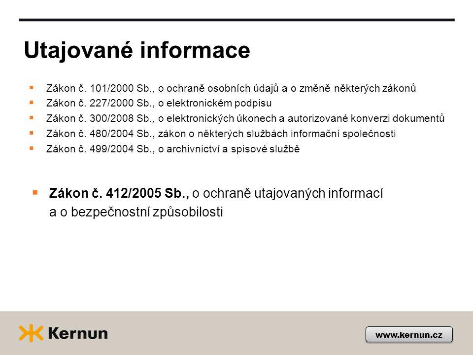 Utajované informace www.kernun.cz  Zákon č.