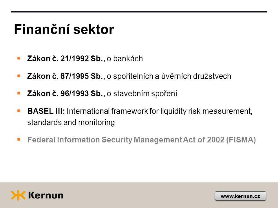 Finanční sektor www.kernun.cz  Zákon č. 21/1992 Sb., o bankách  Zákon č.