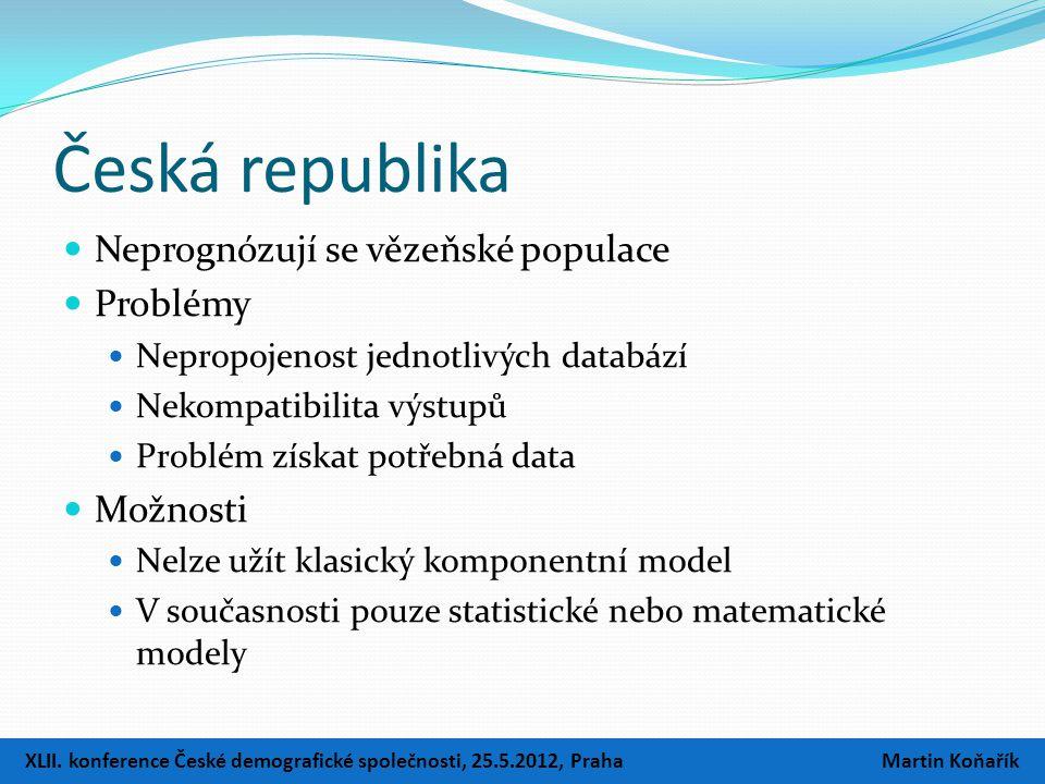 Česká republika  Neprognózují se vězeňské populace  Problémy  Nepropojenost jednotlivých databází  Nekompatibilita výstupů  Problém získat potřebná data  Možnosti  Nelze užít klasický komponentní model  V současnosti pouze statistické nebo matematické modely XLII.