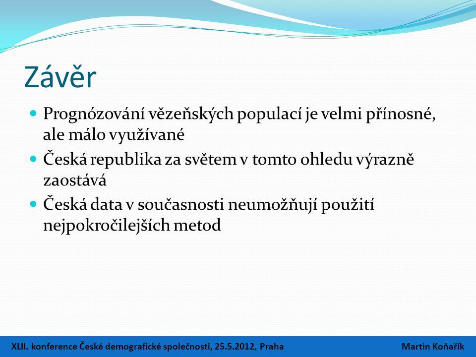 Závěr  Prognózování vězeňských populací je velmi přínosné, ale málo využívané  Česká republika za světem v tomto ohledu výrazně zaostává  Česká data v současnosti neumožňují použití nejpokročilejších metod XLII.