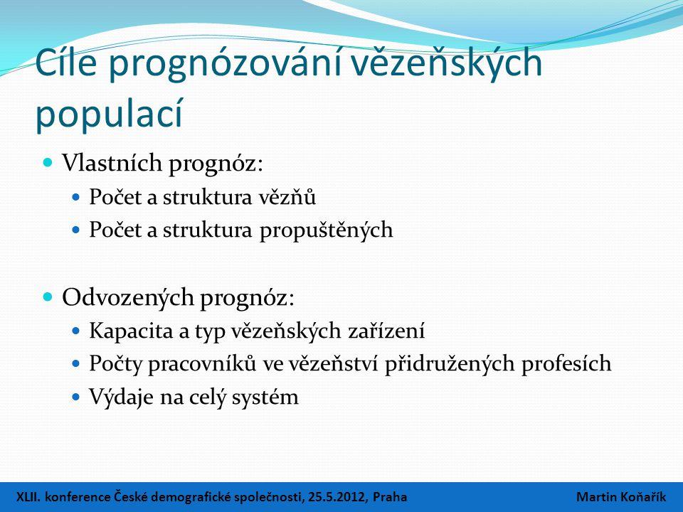Cíle prognózování vězeňských populací  Vlastních prognóz:  Počet a struktura vězňů  Počet a struktura propuštěných  Odvozených prognóz:  Kapacita