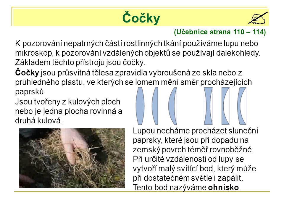 Čočky (Učebnice strana 110 – 114) K pozorování nepatrných částí rostlinných tkání používáme lupu nebo mikroskop, k pozorování vzdálených objektů se po