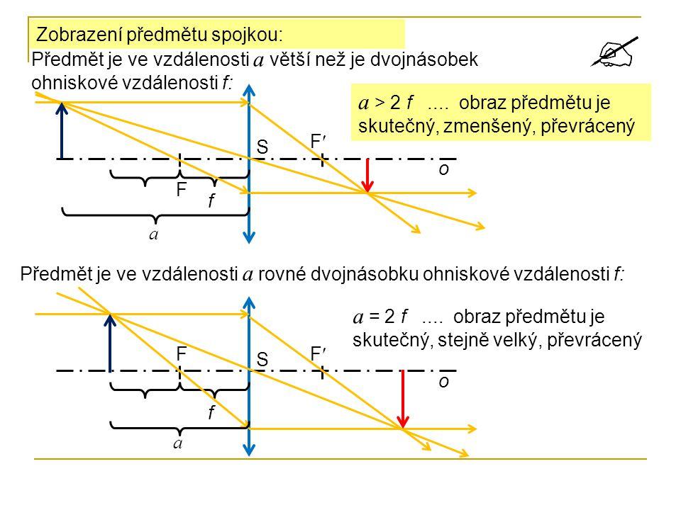 Zobrazení předmětu spojkou: F F S o f Předmět je ve vzdálenosti a větší než je dvojnásobek ohniskové vzdálenosti f: a a > 2 f.... obraz předmětu je sk