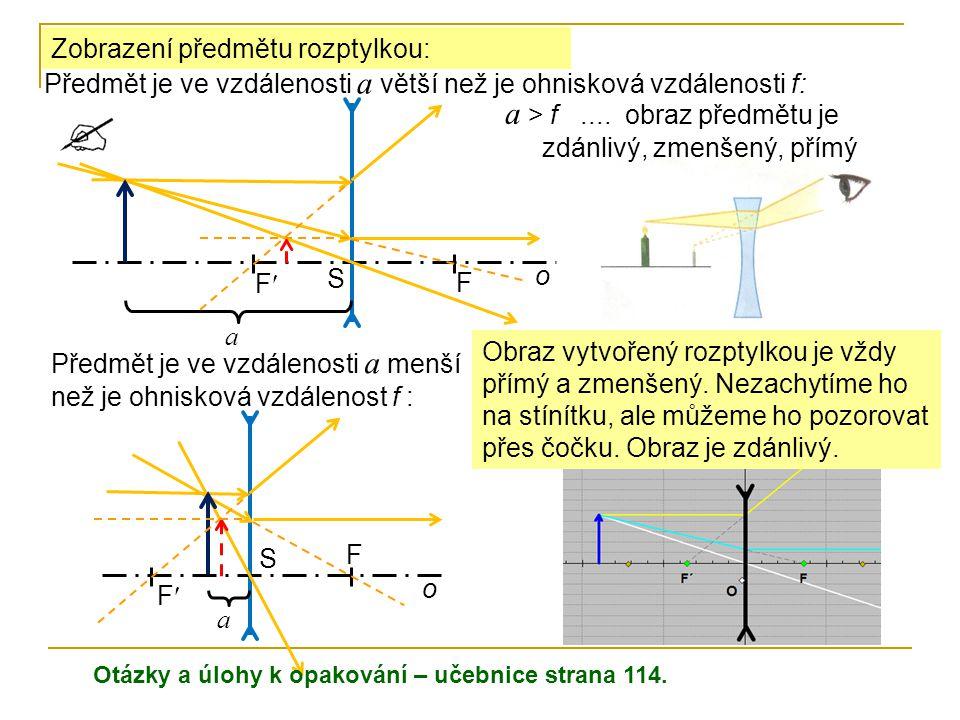 Zobrazení předmětu rozptylkou: Předmět je ve vzdálenosti a větší než je ohnisková vzdálenosti f: a > f.... obraz předmětu je zdánlivý, zmenšený, přímý