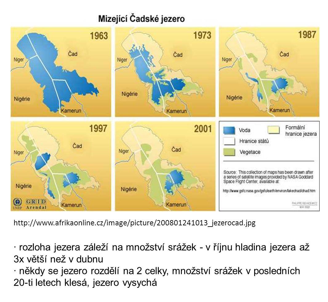 http://www.afrikaonline.cz/image/picture/200801241013_jezerocad.jpg · rozloha jezera záleží na množství srážek - v říjnu hladina jezera až 3x větší než v dubnu · někdy se jezero rozdělí na 2 celky, množství srážek v posledních 20-ti letech klesá, jezero vysychá