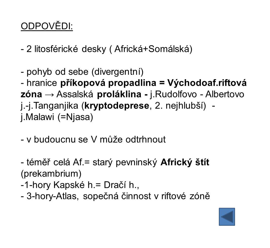 ODPOVĚDI: - 2 litosférické desky ( Africká+Somálská) - pohyb od sebe (divergentní) - hranice příkopová propadlina = Východoaf.riftová zóna → Assalská