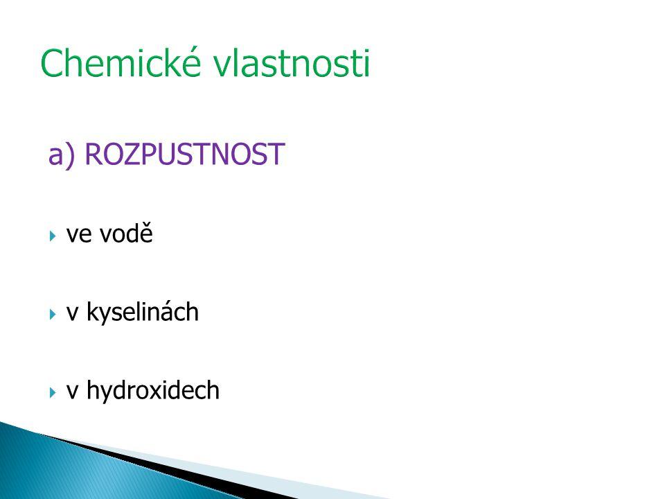 a) ROZPUSTNOST  ve vodě  v kyselinách  v hydroxidech