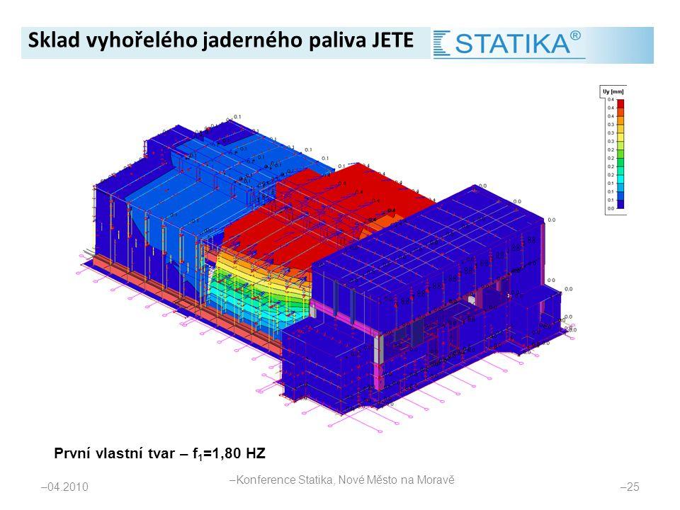 – 04.2010 – 25 První vlastní tvar – f 1 =1,80 HZ Sklad vyhořelého jaderného paliva JETE – Konference Statika, Nové Město na Moravě