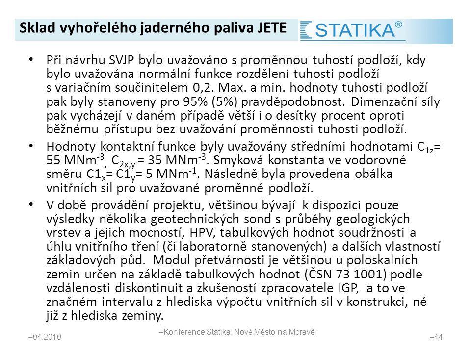 • Při návrhu SVJP bylo uvažováno s proměnnou tuhostí podloží, kdy bylo uvažována normální funkce rozdělení tuhosti podloží s variačním součinitelem 0,