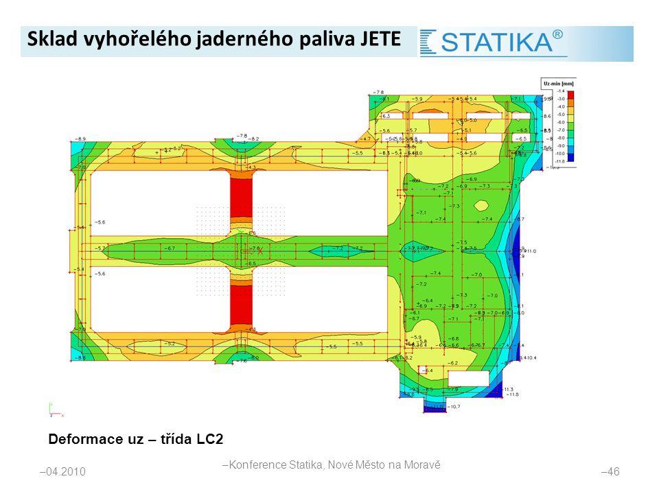 – 04.2010 – 46 Deformace uz – třída LC2 Sklad vyhořelého jaderného paliva JETE – Konference Statika, Nové Město na Moravě