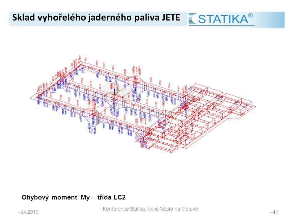 – 04.2010 – 47 Ohybový moment My – třída LC2 Sklad vyhořelého jaderného paliva JETE – Konference Statika, Nové Město na Moravě