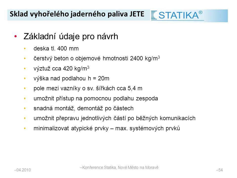 – 54 •Základní údaje pro návrh •deska tl. 400 mm •čerstvý beton o objemové hmotnosti 2400 kg/m 3 •výztuž cca 420 kg/m 3 •výška nad podlahou h = 20m •p