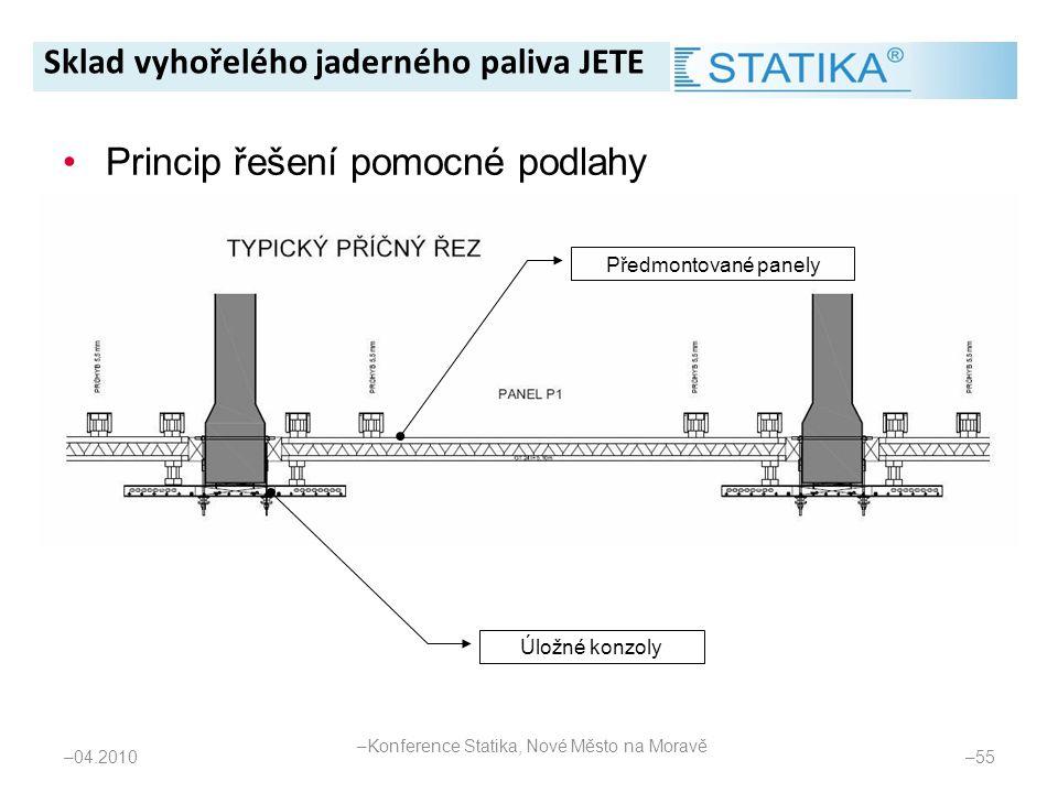 – 04.2010 – 55 •Princip řešení pomocné podlahy Úložné konzoly Předmontované panely Sklad vyhořelého jaderného paliva JETE – Konference Statika, Nové M