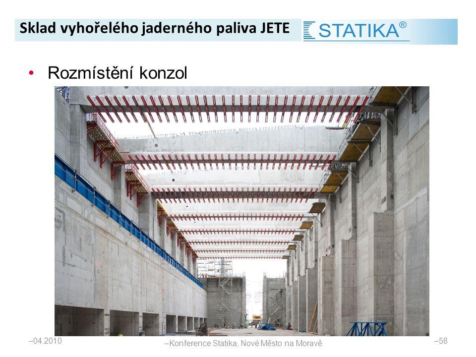 – 04.2010 – 58 •Rozmístění konzol Sklad vyhořelého jaderného paliva JETE – Konference Statika, Nové Město na Moravě