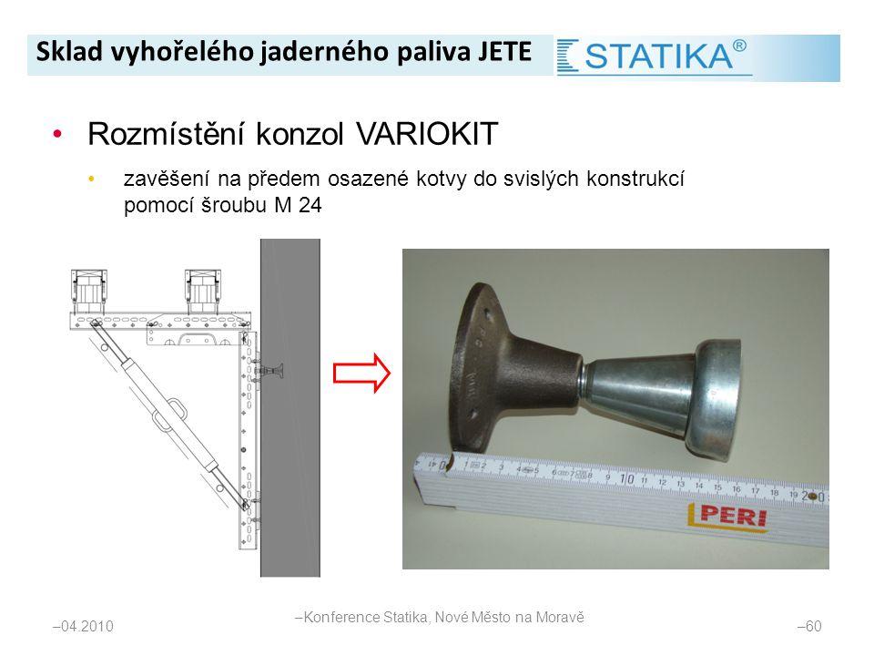 – 04.2010 – 60 •Rozmístění konzol VARIOKIT •zavěšení na předem osazené kotvy do svislých konstrukcí pomocí šroubu M 24 Sklad vyhořelého jaderného pali