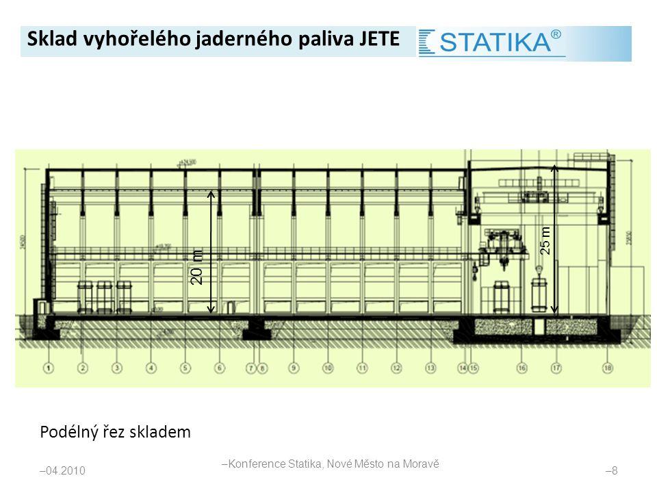 Podélný řez skladem – 04.2010 –8–8 20 m 25 m Sklad vyhořelého jaderného paliva JETE – Konference Statika, Nové Město na Moravě