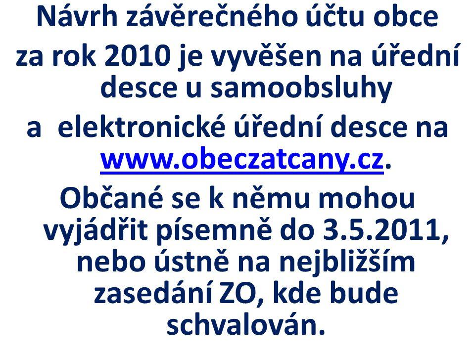Návrh závěrečného účtu obce za rok 2010 je vyvěšen na úřední desce u samoobsluhy a elektronické úřední desce na www.obeczatcany.cz. www.obeczatcany.cz