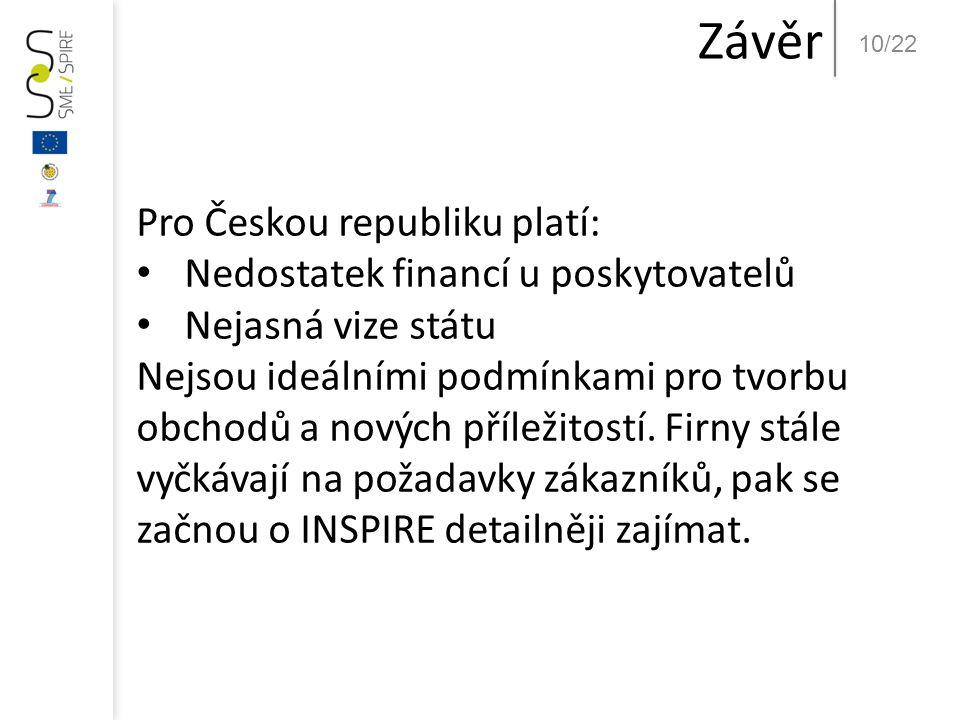 10/22 Závěr Pro Českou republiku platí: • Nedostatek financí u poskytovatelů • Nejasná vize státu Nejsou ideálními podmínkami pro tvorbu obchodů a nov