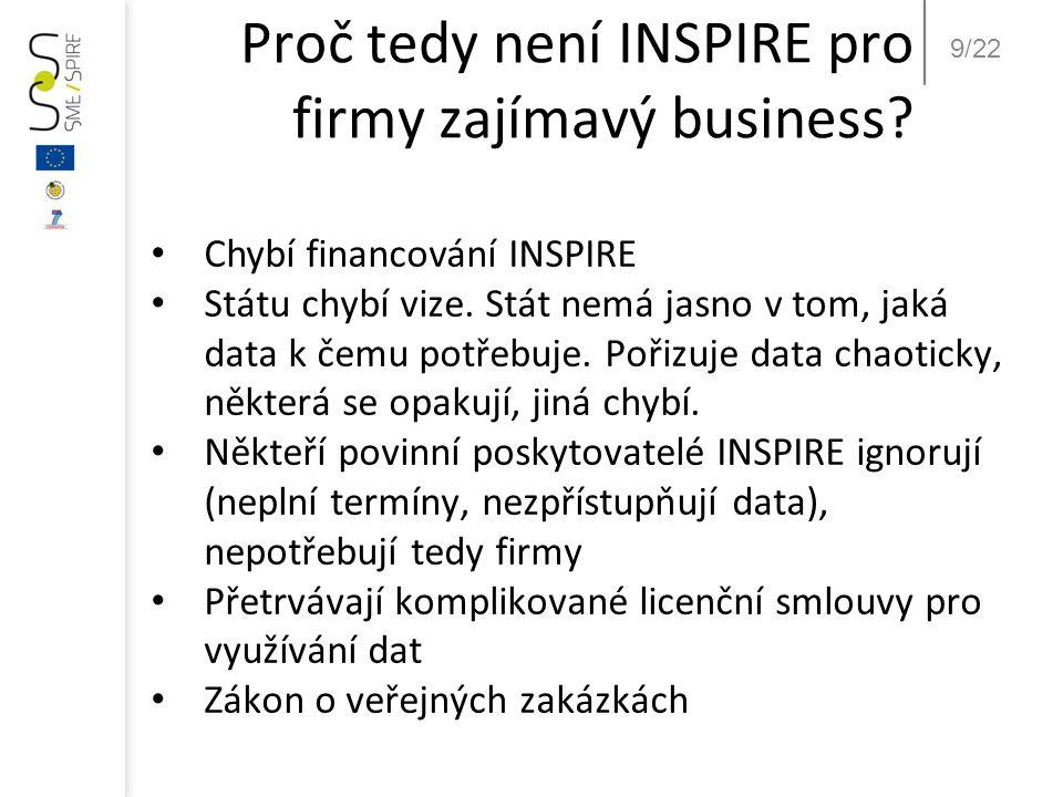 9/22 Proč tedy není INSPIRE pro firmy zajímavý business? • Chybí financování INSPIRE • Státu chybí vize. Stát nemá jasno v tom, jaká data k čemu potře