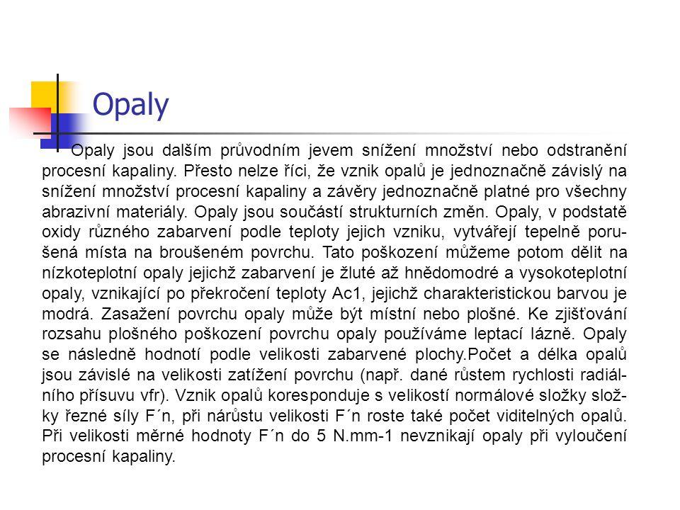 Opaly Opaly jsou dalším průvodním jevem snížení množství nebo odstranění procesní kapaliny. Přesto nelze říci, že vznik opalů je jednoznačně závislý n