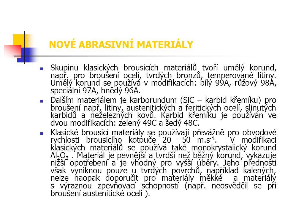  Skupinu klasických brousicích materiálů tvoří umělý korund, např. pro broušení ocelí, tvrdých bronzů, temperované litiny. Umělý korund se používá v