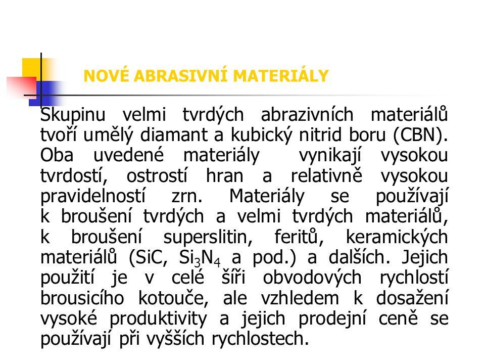 Skupinu velmi tvrdých abrazivních materiálů tvoří umělý diamant a kubický nitrid boru (CBN). Oba uvedené materiály vynikají vysokou tvrdostí, ostrostí