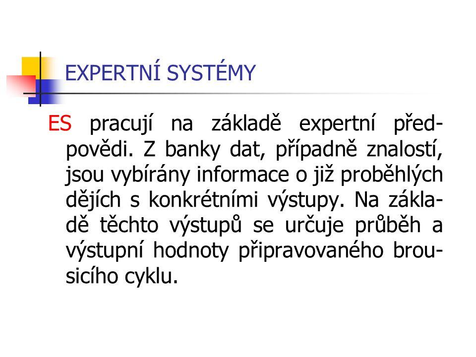 EXPERTNÍ SYSTÉMY ES pracují na základě expertní před- povědi. Z banky dat, případně znalostí, jsou vybírány informace o již proběhlých dějích s konkré